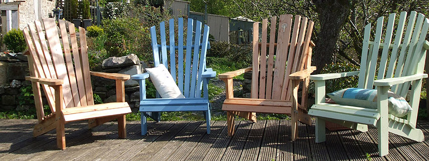 Group of Adirondack Chairs on Patio